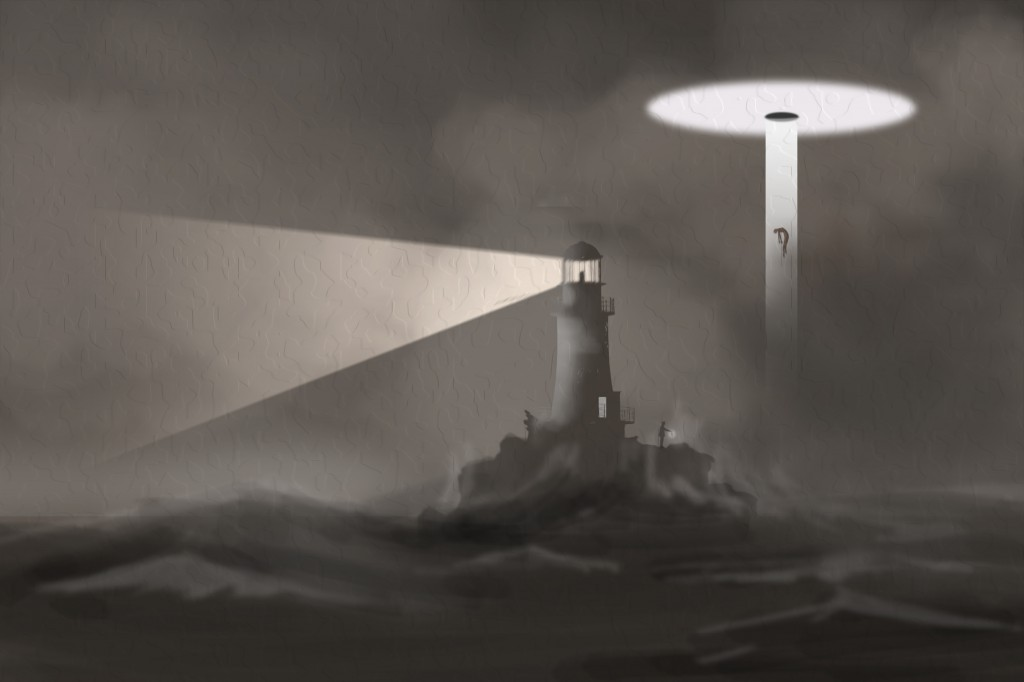 lighthouse and ufo